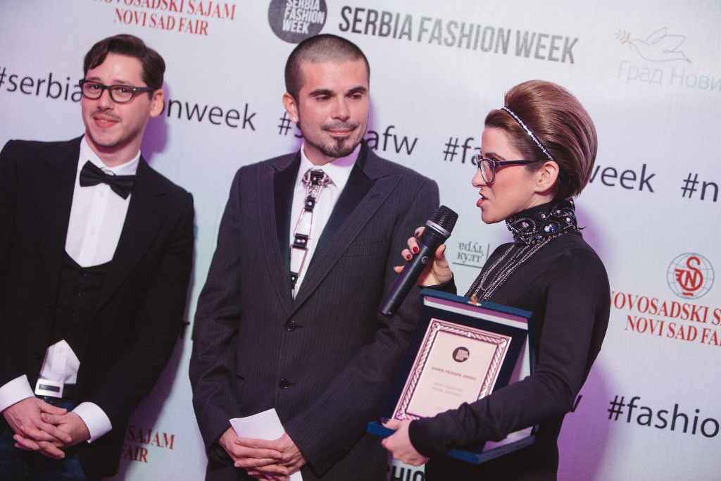 IVANA MISIC (right) Winner of the Most Promising Designer Award with Rozario Morabito of Vogue Talents (left) and L.A. Fashoin Week President Erik Rosete (center)