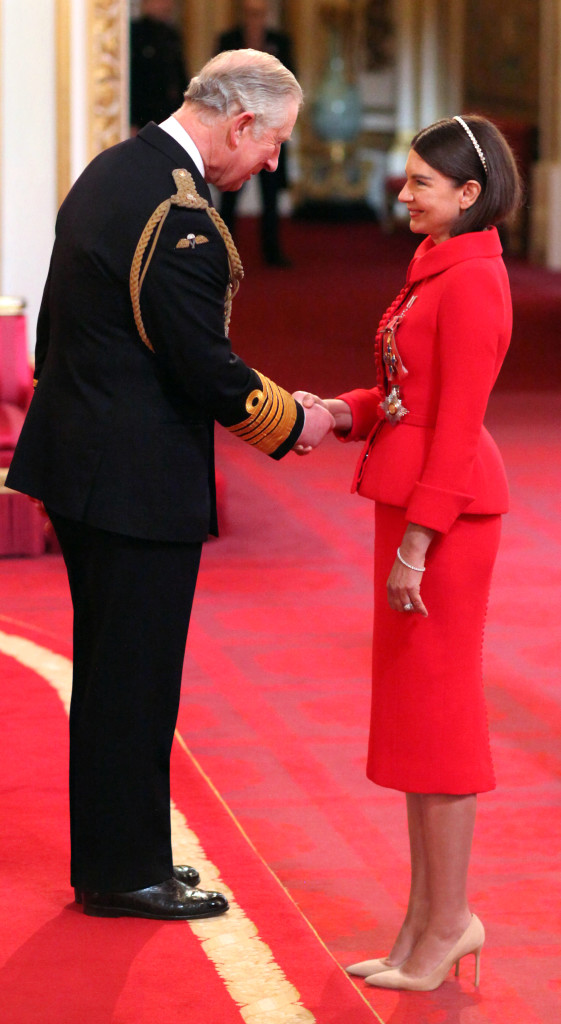 Dame Natalie Massenet from London is made a Dame Commander of the British Empire by The Prince of Wales at Buckingham Palace. PRESS ASSOCIATION Photo. Picture date: Friday February 19, 2016. See PA story ROYAL Investitures. Photo credit should read: Jonathan Brady/PA Wire