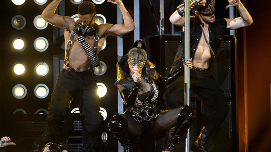 Nicki Minaj wearing on aura tout vu harness During BBMAs