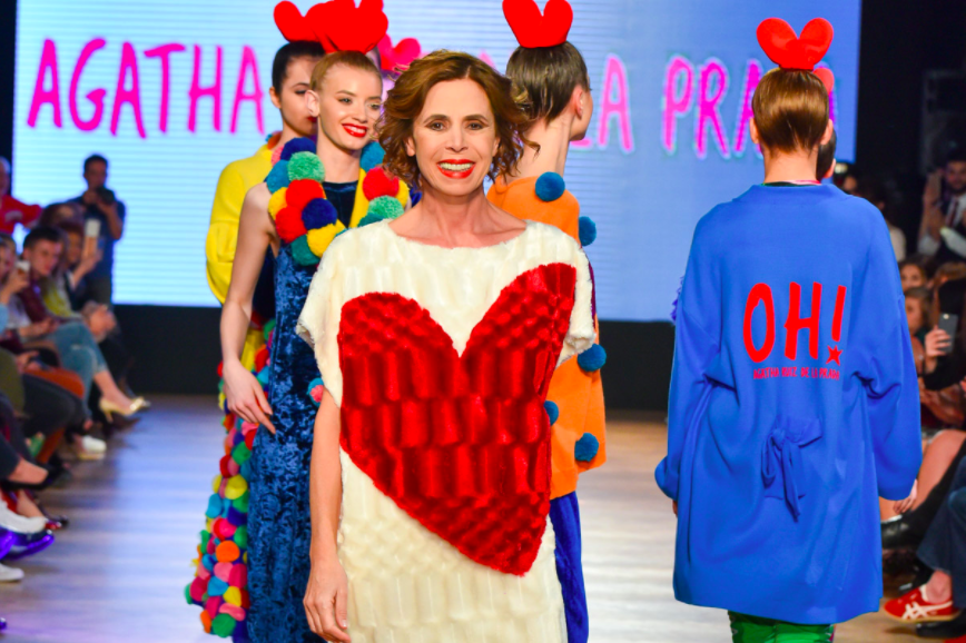 Designer Agatha Ruiz de la Prada after th presentation of her Fall Winter 2017/18 collection at the Romanian Fashion Philosophy Fashion Week.